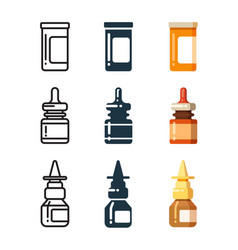 Medicine bottles and box for pills line vector