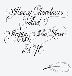 Merry christmas and Happy New Year 2016 Hand-writt vector