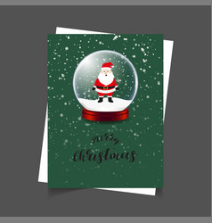 merry christmas santa green background vector image