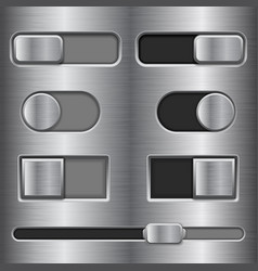 Metal interface slider buttons set of on and off vector