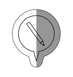 monochrome contour sticker with pencil icon in vector image