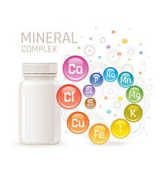 Multi mineral vitamin complex supplement 3d vector