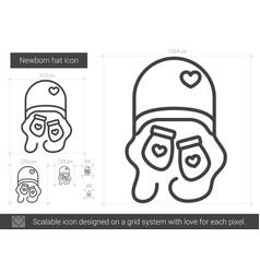 Newborn hat line icon vector