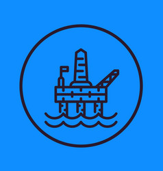 Oil and gas drilling platform line icon vector