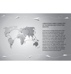 paper airplanes fly over world map vector image