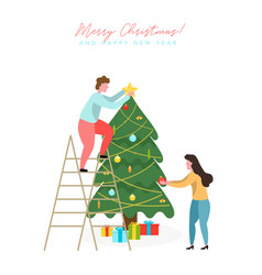 people decorating christmas tree vector image