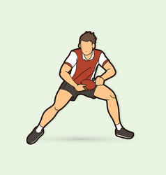 Ping pong player table tennis action vector