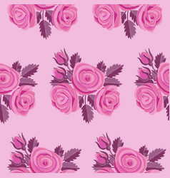 pink rose embroidery seamless pattern vector image