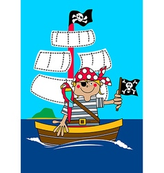 Pirate boy sailing on ship with parrot vector image