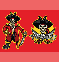 pirate skull mascot in set vector image