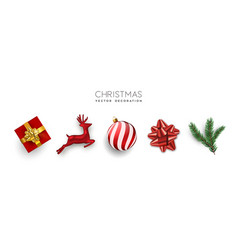 red christmas set 3d holiday object isolated vector image