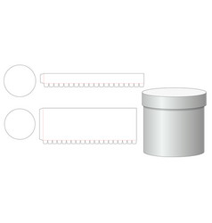 Round box and lid die cut template vector