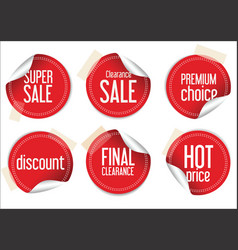 Round sale stickers on white background vector