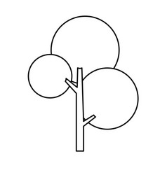 round tree nature ecology symbol line vector image