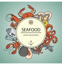 Seafood card with symbols of various vector image