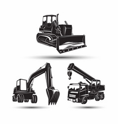 set heavy building machines vector image