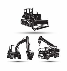 Set heavy building machines vector