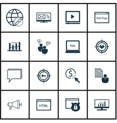 Set of 16 marketing icons includes report market vector