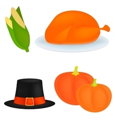 Set of cartoon icons for thanksgiving dinner is vector image