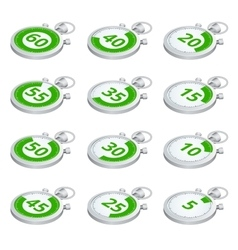 Set of green timers 3d isometric vector