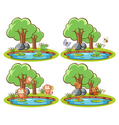 Set wild animals in park with pond and tree vector
