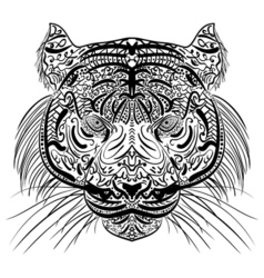 Sketch black and white tiger head Zen-tangle vector