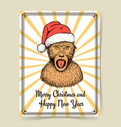 Sketch monkey in Santas hat vector image