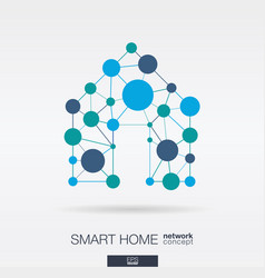 Smart home integrated thin lines and circles vector