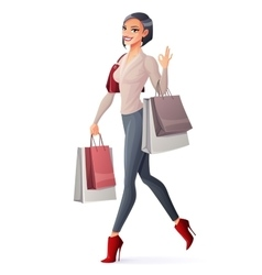 smiling girl walking with shopping bags and vector image vector image