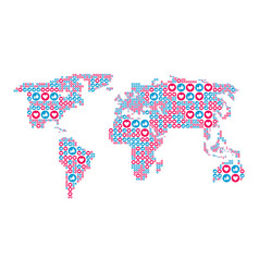 social media like and heart symbols in the world vector image