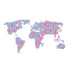 social media like and heart symbols in world vector image