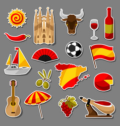 Spain sticker icons set spanish traditional vector