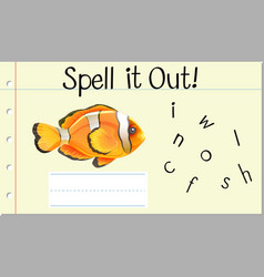 Spell english word crown fish vector