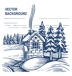 stone house in winter forest vector image