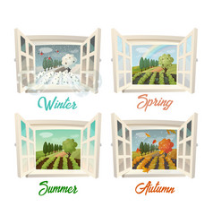 Summer and winter spring and autumn village view vector