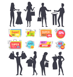 Super reduction sale and discount silhouette set vector