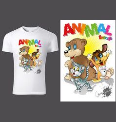 t-shirt design with cartoon animals vector image