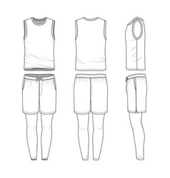 templates of blank vest shorts jogging pants vector image