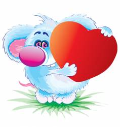 the mouse with heart vector image