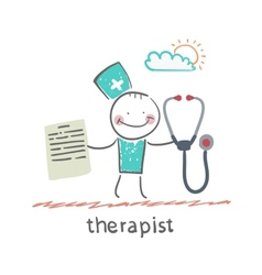 Therapist with a folder and stethoscope vector