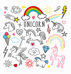 Unicorn rainbow magic freehand doodle stickers vector