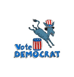 Vote Democrat Donkey Mascot Jumping Over Barrel vector image