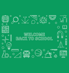 welcome back to school horizontal outline vector image