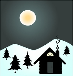 Winter night in cabin vector