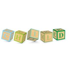 Word CHILD written with alphabet blocks vector