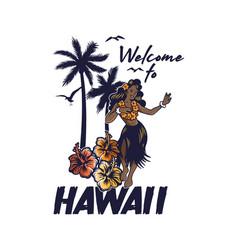 Young cute smile hawaiian hula girl dancing vector
