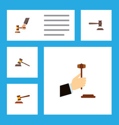 flat icon court set of crime law hammer and vector image vector image