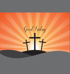 good friday background with white cross and sun vector image