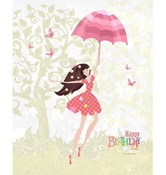 Happy girl with a pink umbrella Mary Poppins Happy vector image vector image