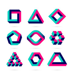 Impossible shapes optical objects vector